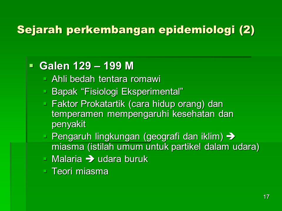Sejarah perkembangan epidemiologi (2)