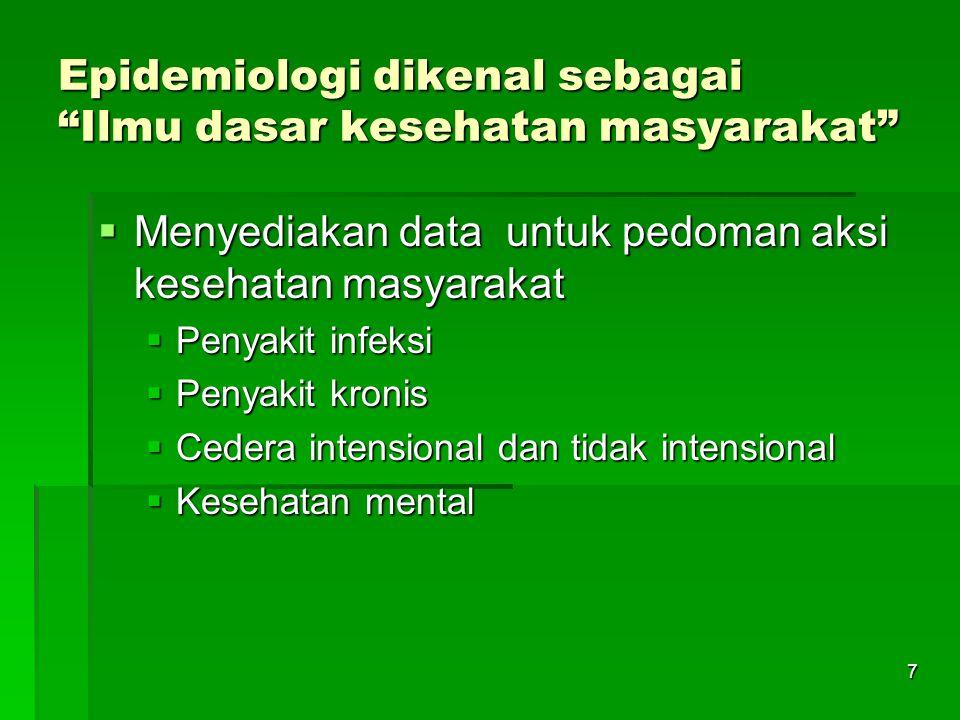 Epidemiologi dikenal sebagai Ilmu dasar kesehatan masyarakat