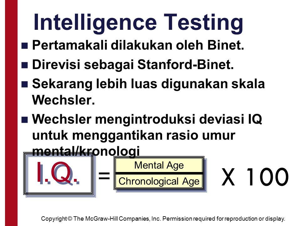 I.Q. X 100 Intelligence Testing = Pertamakali dilakukan oleh Binet.