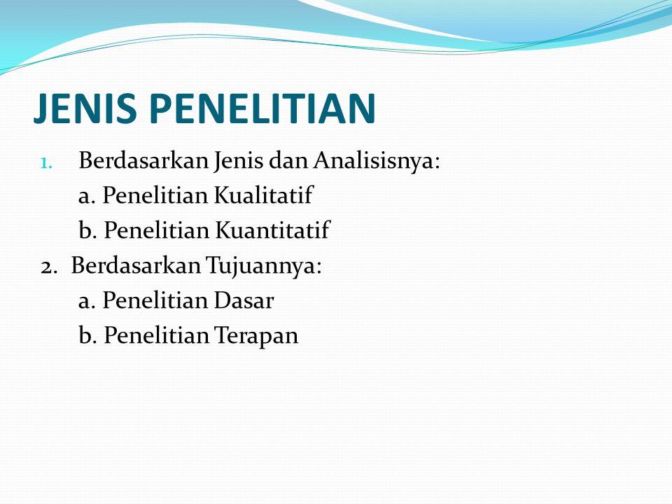 JENIS PENELITIAN Berdasarkan Jenis dan Analisisnya: