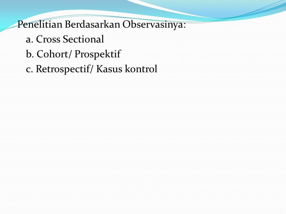 Penelitian Berdasarkan Observasinya: a. Cross Sectional b