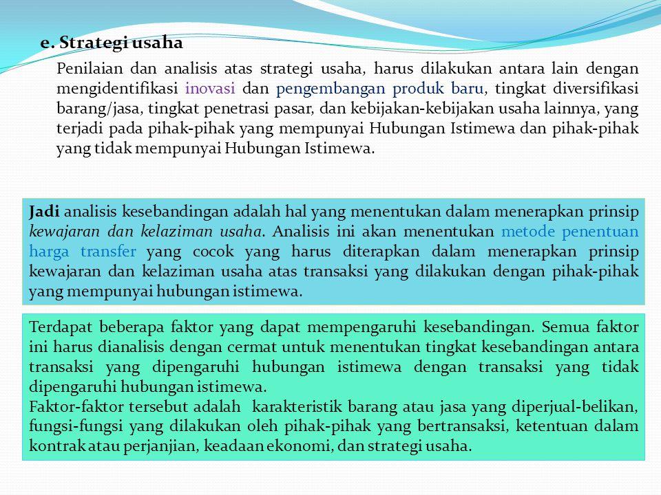 e. Strategi usaha