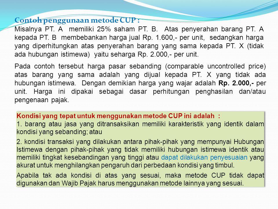 Contoh penggunaan metode CUP :