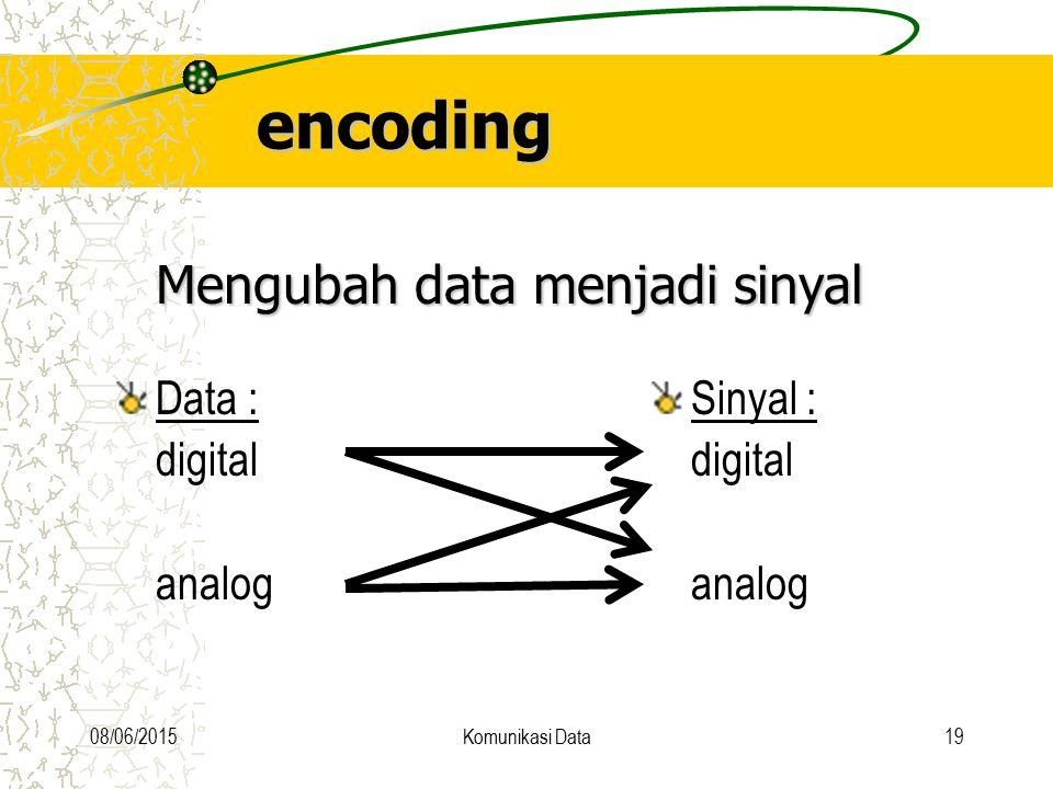 encoding Mengubah data menjadi sinyal Data : digital analog Sinyal :