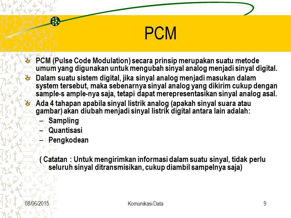 PCM PCM (Pulse Code Modulation) secara prinsip merupakan suatu metode umum yang digunakan untuk mengubah sinyal analog menjadi sinyal digital.