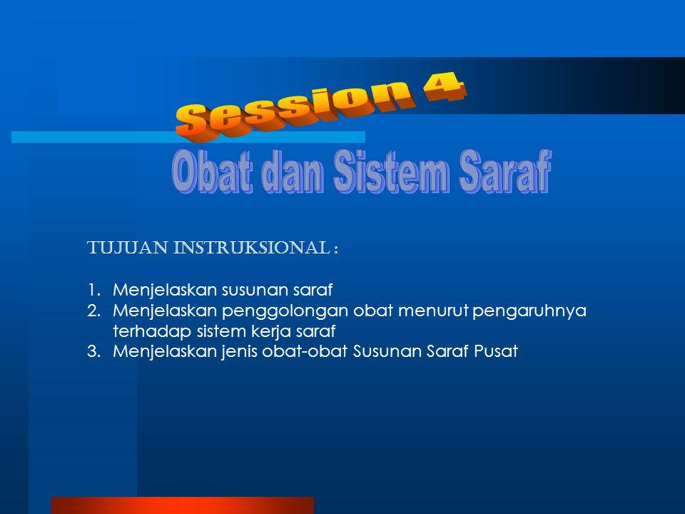 Session 4 Obat dan Sistem Saraf Tujuan Instruksional :