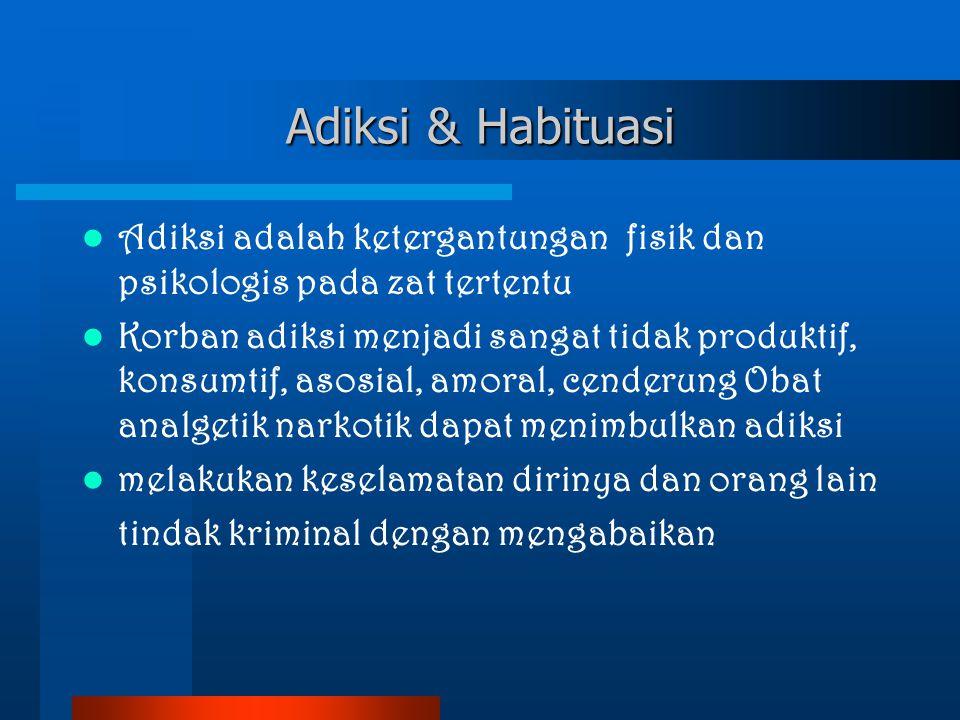 Adiksi & Habituasi Adiksi adalah ketergantungan fisik dan psikologis pada zat tertentu.