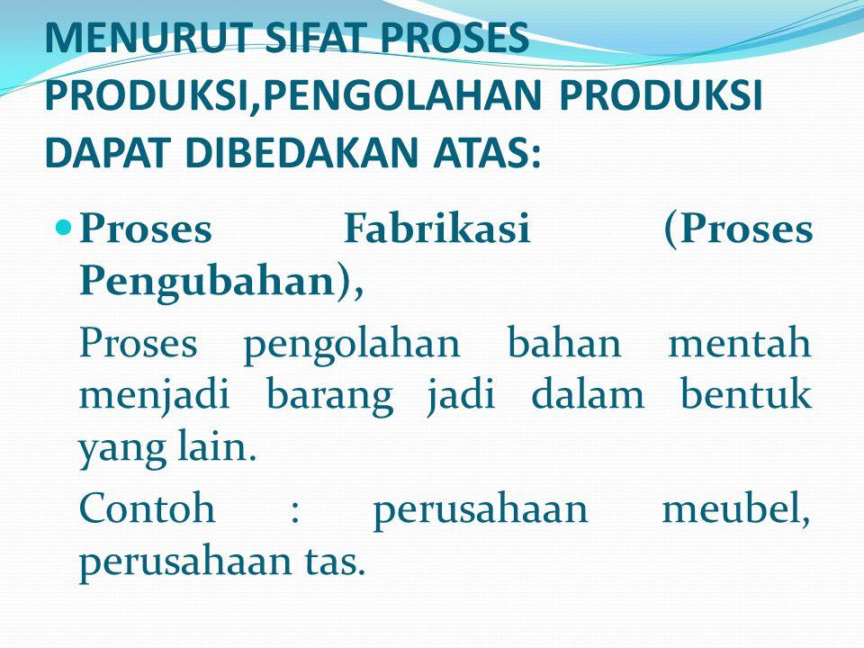 MENURUT SIFAT PROSES PRODUKSI,PENGOLAHAN PRODUKSI DAPAT DIBEDAKAN ATAS: