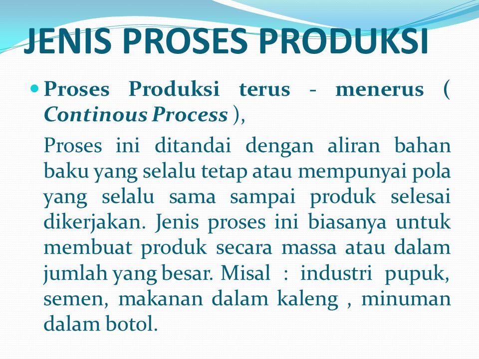 JENIS PROSES PRODUKSI Proses Produksi terus - menerus ( Continous Process ),