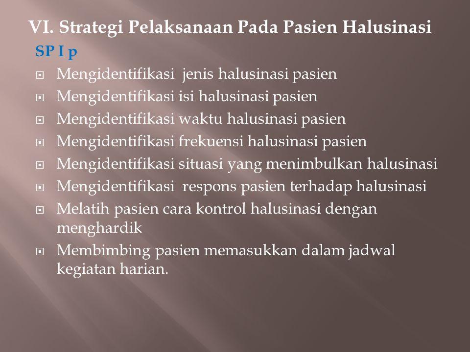VI. Strategi Pelaksanaan Pada Pasien Halusinasi