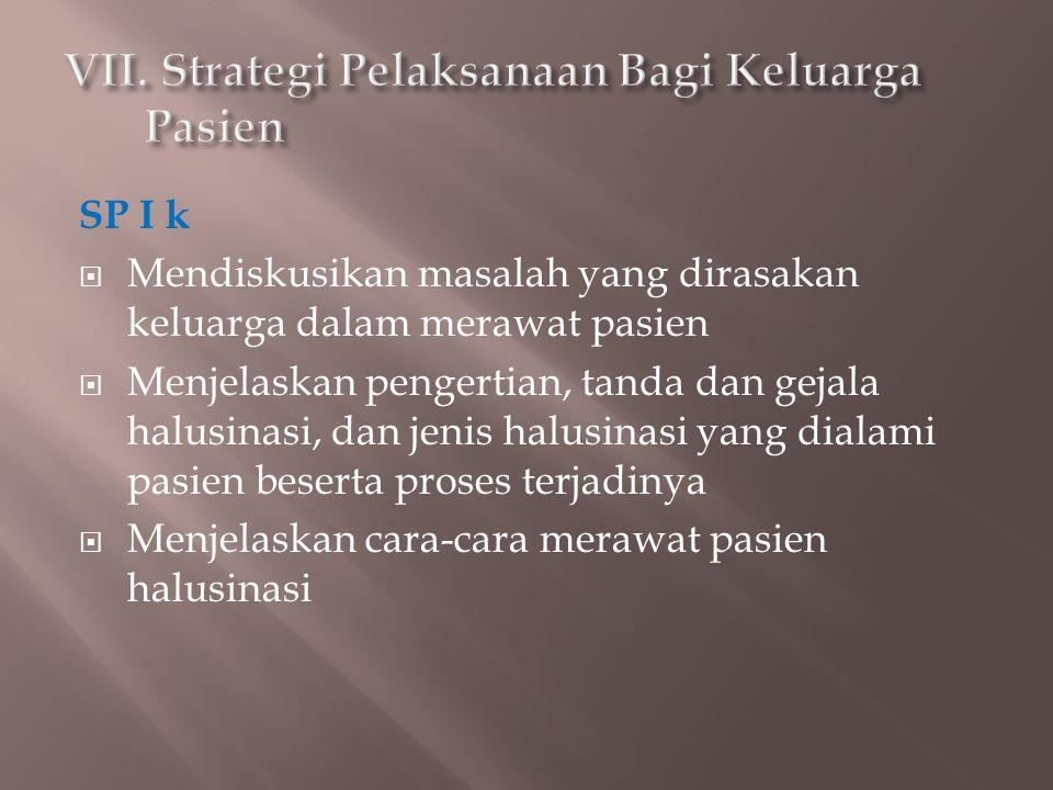 VII. Strategi Pelaksanaan Bagi Keluarga Pasien