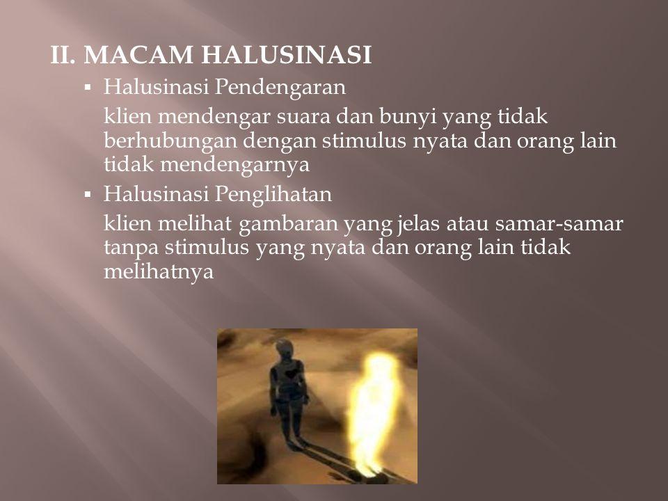 II. MACAM HALUSINASI Halusinasi Pendengaran