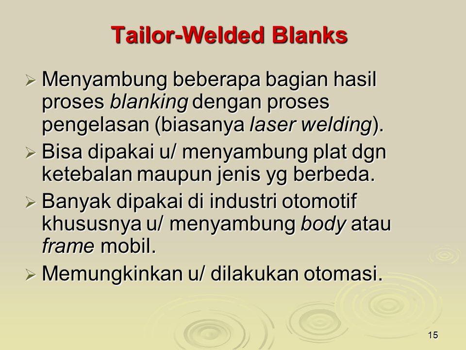 Tailor-Welded Blanks Menyambung beberapa bagian hasil proses blanking dengan proses pengelasan (biasanya laser welding).