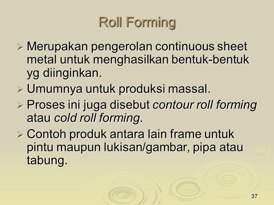 Roll Forming Merupakan pengerolan continuous sheet metal untuk menghasilkan bentuk-bentuk yg diinginkan.