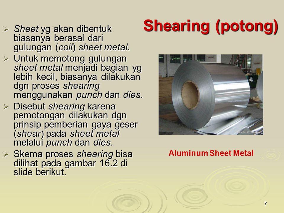 Shearing (potong) Sheet yg akan dibentuk biasanya berasal dari gulungan (coil) sheet metal.