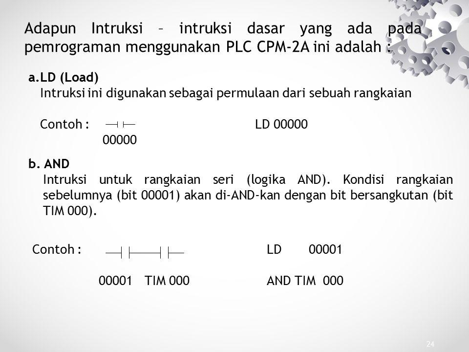 Adapun Intruksi – intruksi dasar yang ada pada pemrograman menggunakan PLC CPM-2A ini adalah :