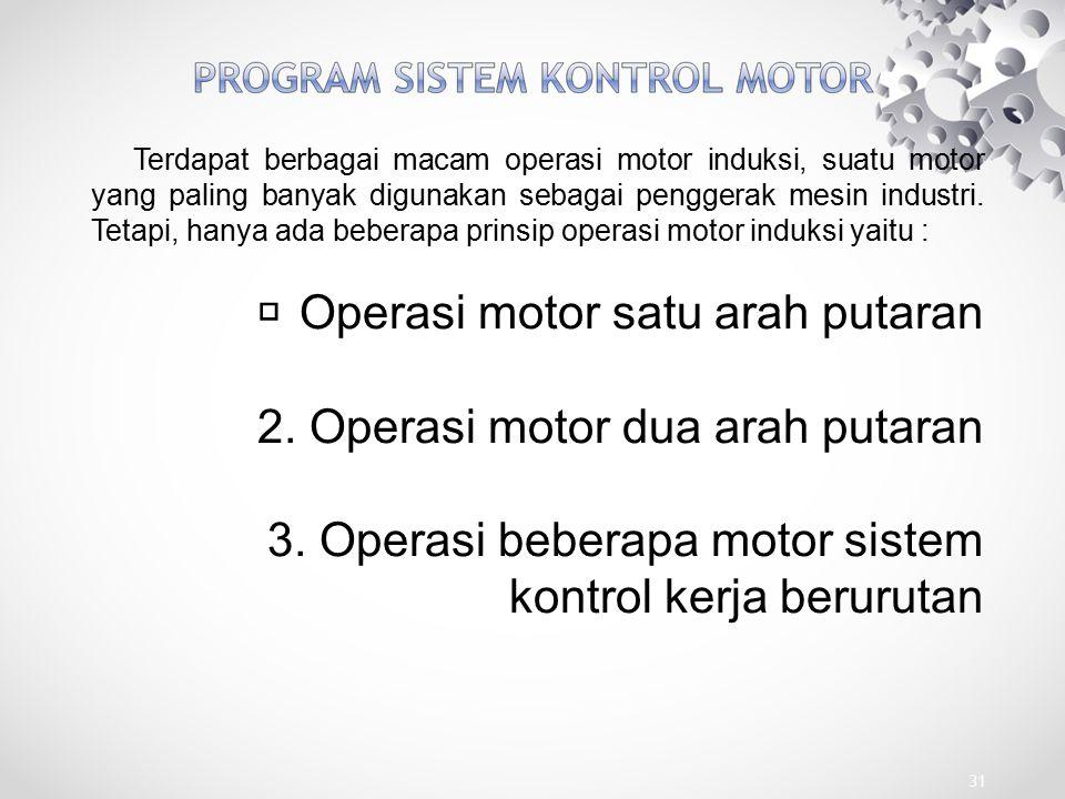 Operasi motor satu arah putaran 2. Operasi motor dua arah putaran