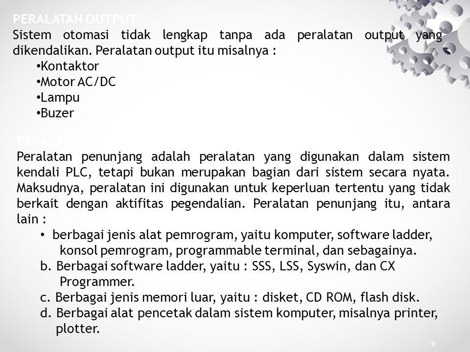 berbagai jenis alat pemrogram, yaitu komputer, software ladder,