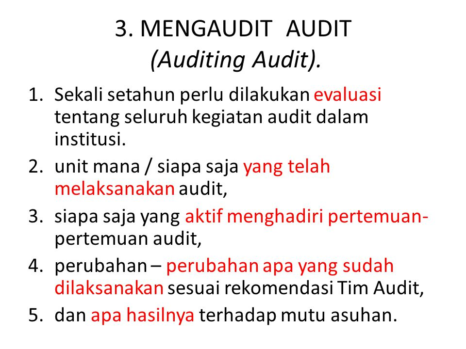 3. MENGAUDIT AUDIT (Auditing Audit).