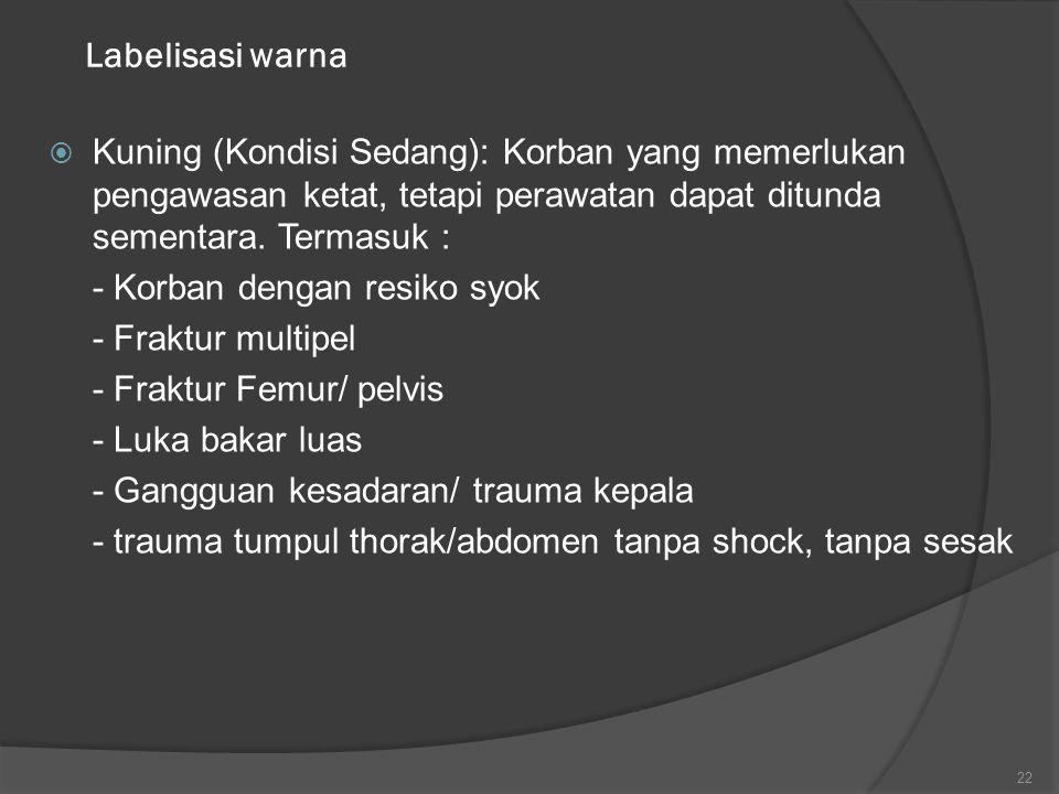 Labelisasi warna Kuning (Kondisi Sedang): Korban yang memerlukan pengawasan ketat, tetapi perawatan dapat ditunda sementara. Termasuk :