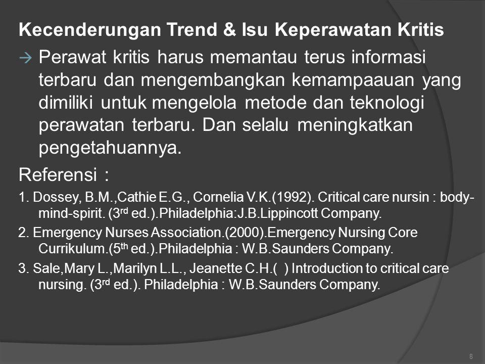 Kecenderungan Trend & Isu Keperawatan Kritis