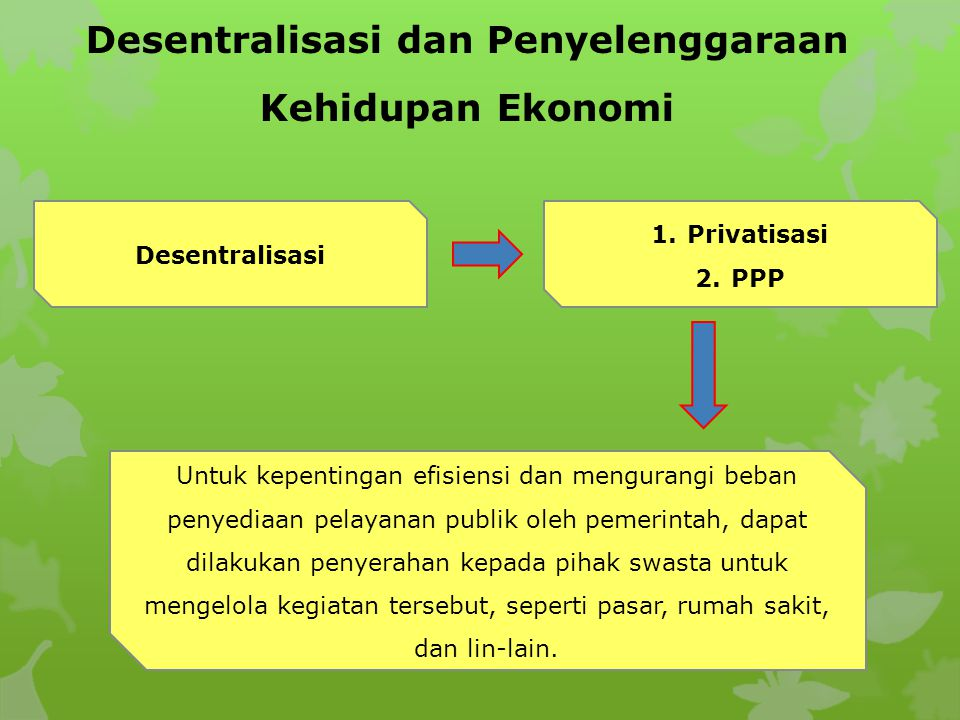 Desentralisasi dan Penyelenggaraan Kehidupan Ekonomi