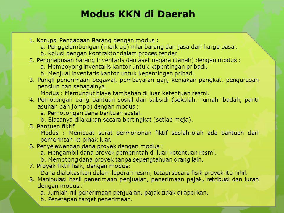 Modus KKN di Daerah 1. Korupsi Pengadaan Barang dengan modus :