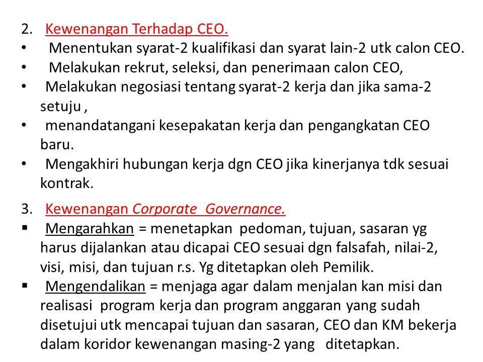 Kewenangan Terhadap CEO.