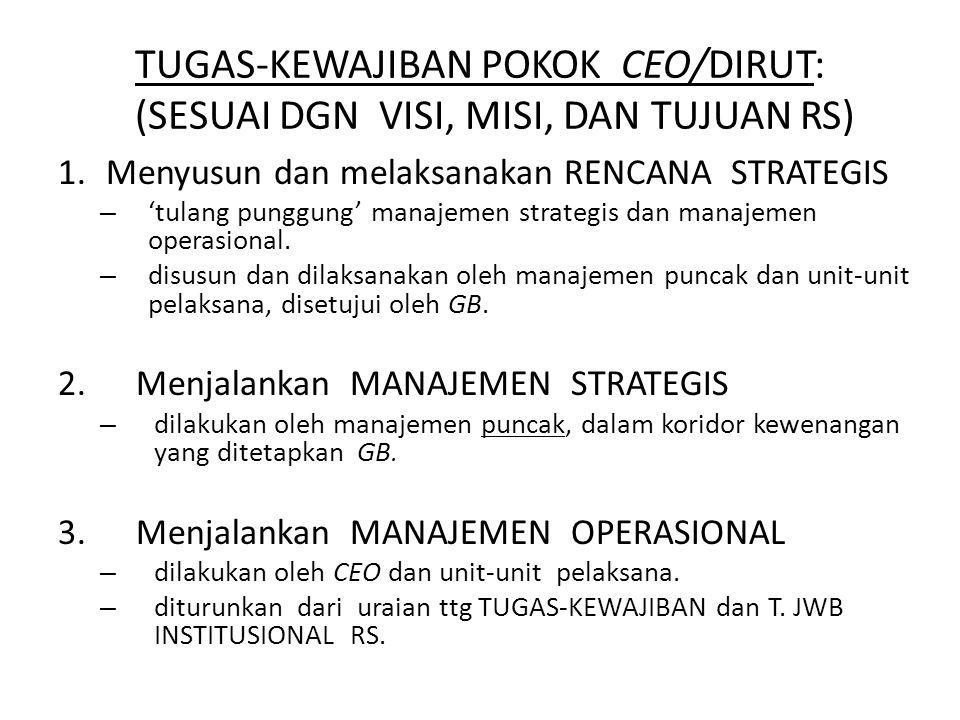 TUGAS-KEWAJIBAN POKOK CEO/DIRUT: (SESUAI DGN VISI, MISI, DAN TUJUAN RS)