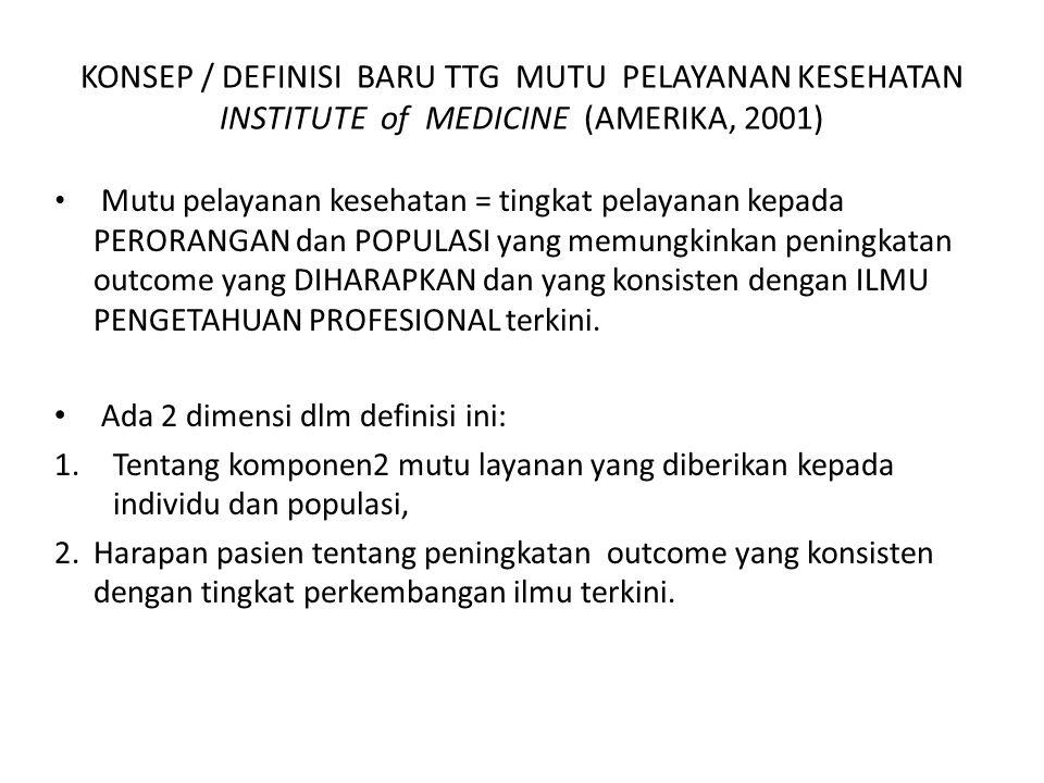 KONSEP / DEFINISI BARU TTG MUTU PELAYANAN KESEHATAN INSTITUTE of MEDICINE (AMERIKA, 2001)
