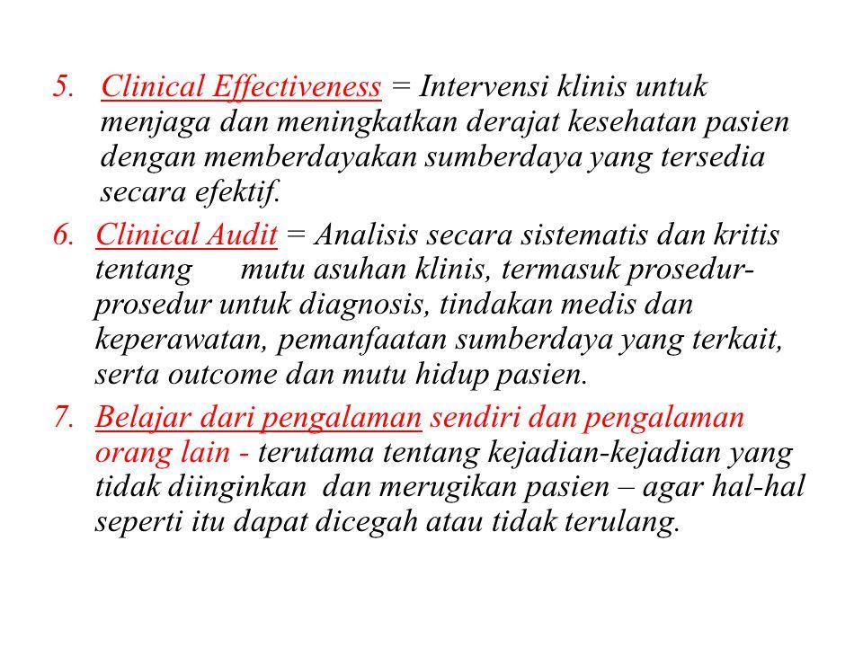 Clinical Effectiveness = Intervensi klinis untuk menjaga dan meningkatkan derajat kesehatan pasien dengan memberdayakan sumberdaya yang tersedia secara efektif.