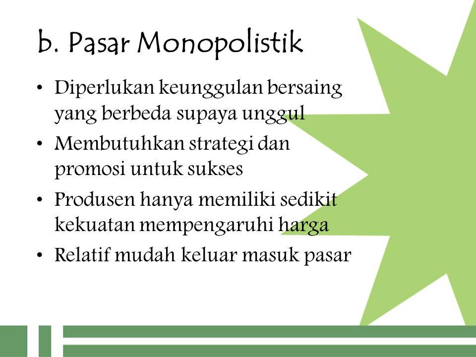 b. Pasar Monopolistik Diperlukan keunggulan bersaing yang berbeda supaya unggul.