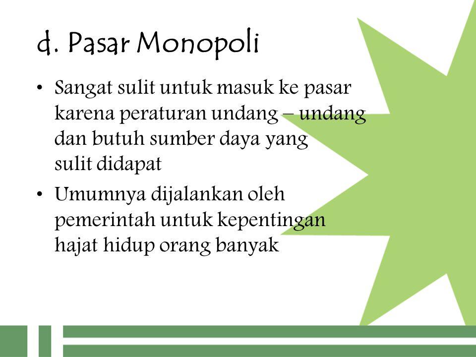 d. Pasar Monopoli