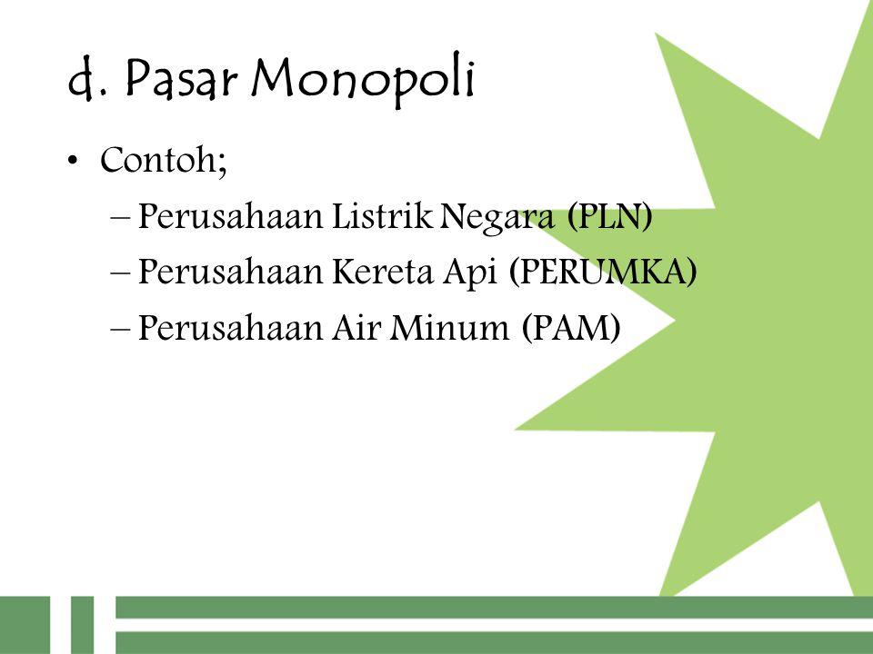 d. Pasar Monopoli Contoh; Perusahaan Listrik Negara (PLN)
