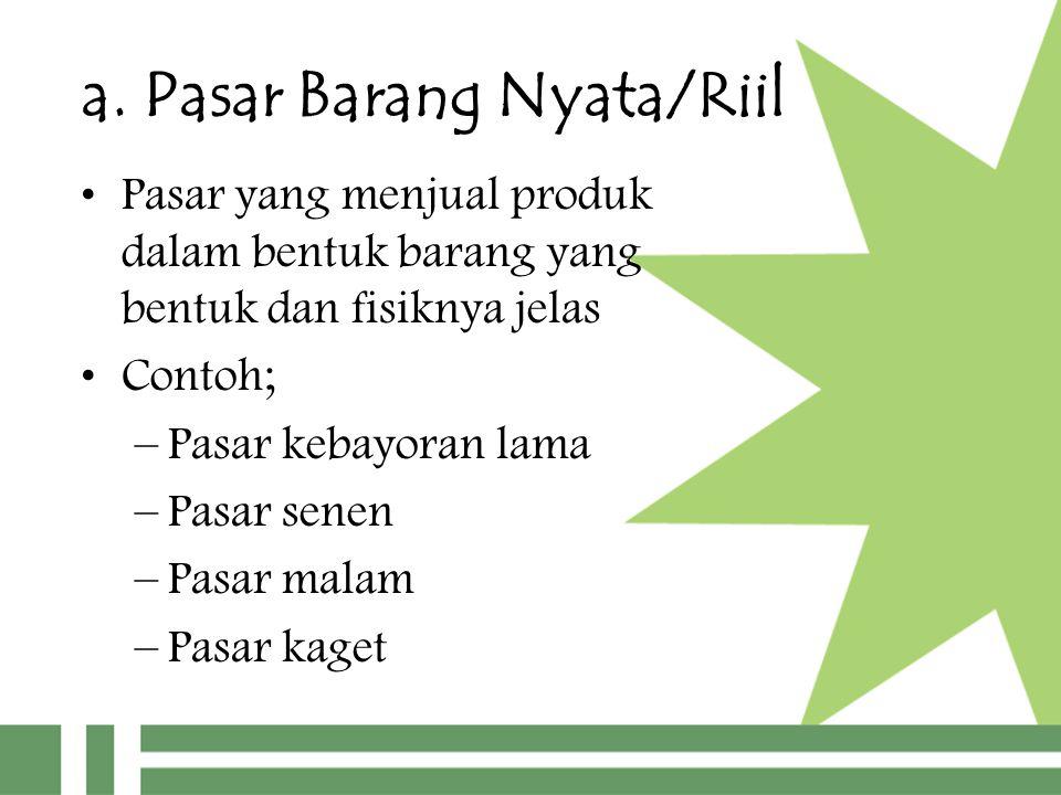 a. Pasar Barang Nyata/Riil