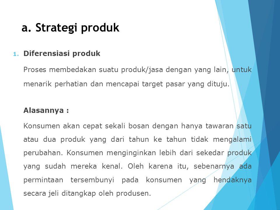 a. Strategi produk Diferensiasi produk