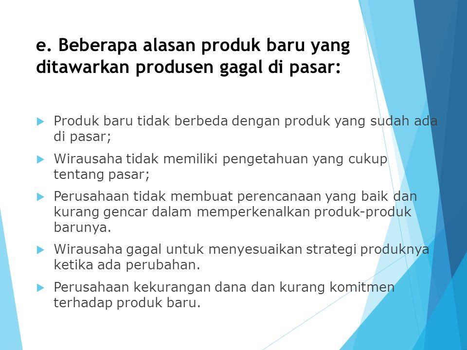 e. Beberapa alasan produk baru yang ditawarkan produsen gagal di pasar: