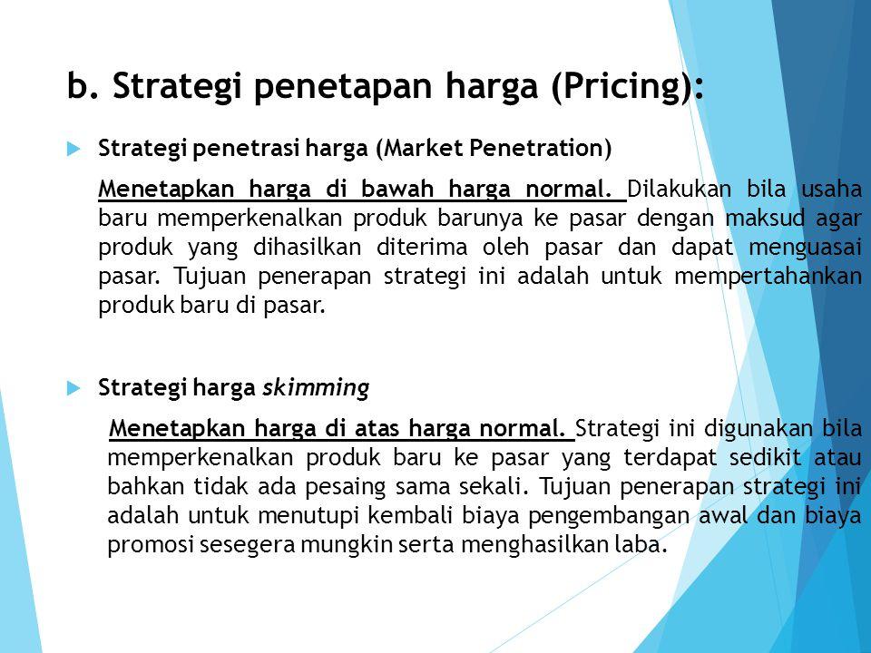 b. Strategi penetapan harga (Pricing):