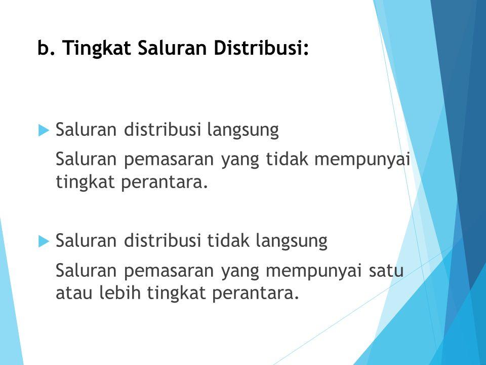b. Tingkat Saluran Distribusi: