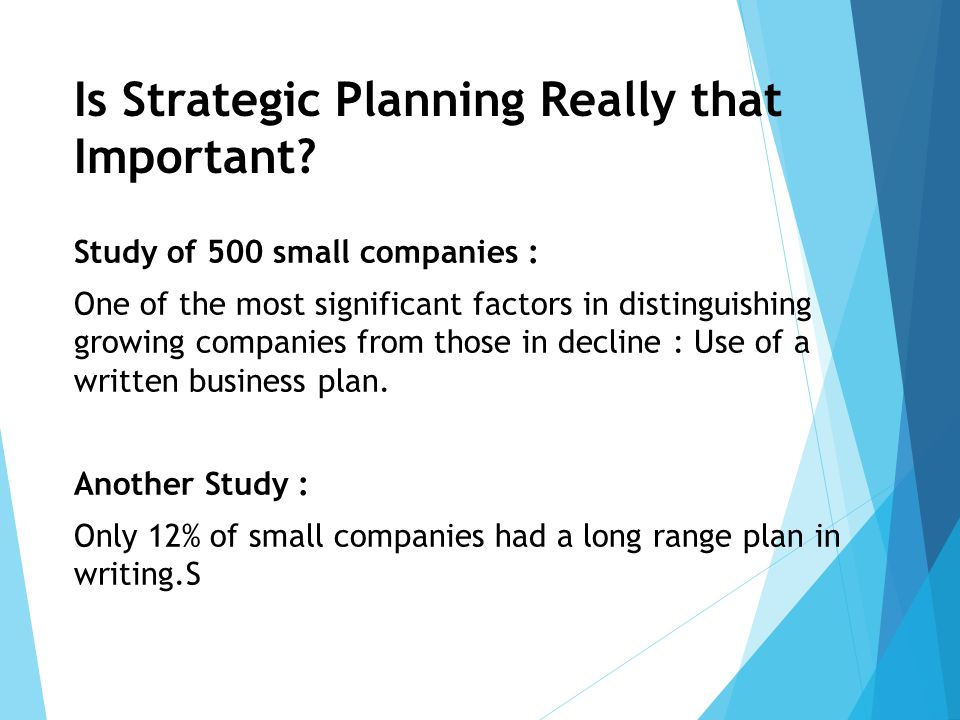 Is Strategic Planning Really that Important