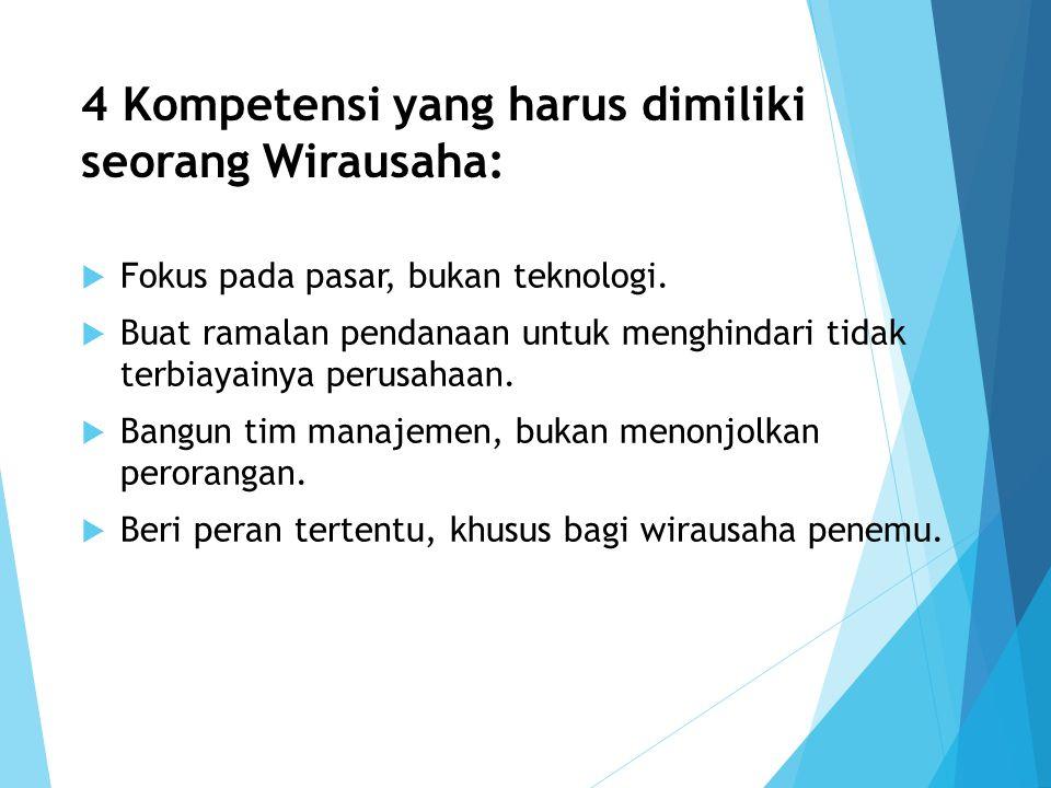 4 Kompetensi yang harus dimiliki seorang Wirausaha: