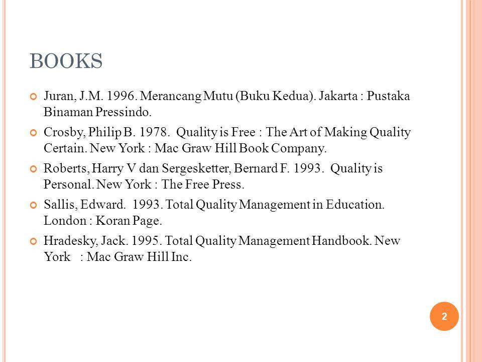 BOOKS Juran, J.M. 1996. Merancang Mutu (Buku Kedua). Jakarta : Pustaka Binaman Pressindo.