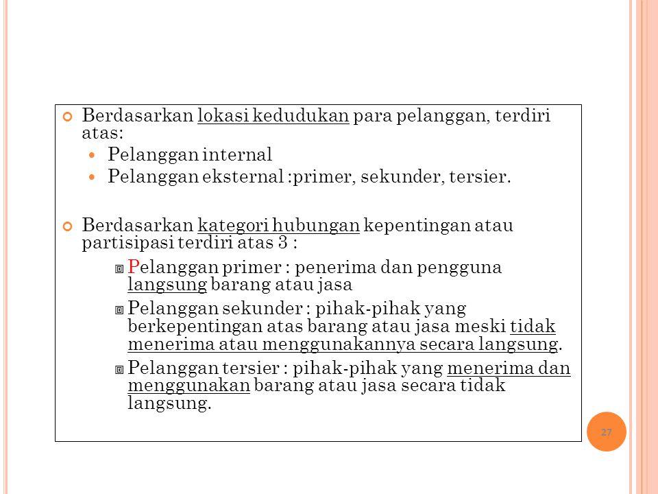 Berdasarkan lokasi kedudukan para pelanggan, terdiri atas: