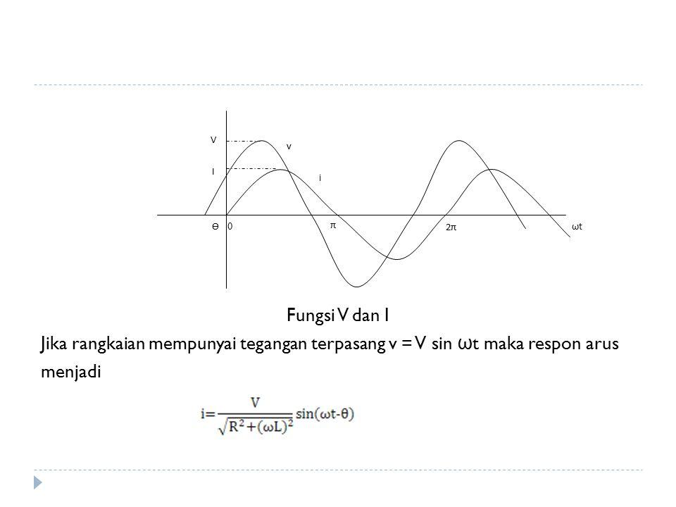 Fungsi V dan I Jika rangkaian mempunyai tegangan terpasang v = V sin ωt maka respon arus. menjadi.