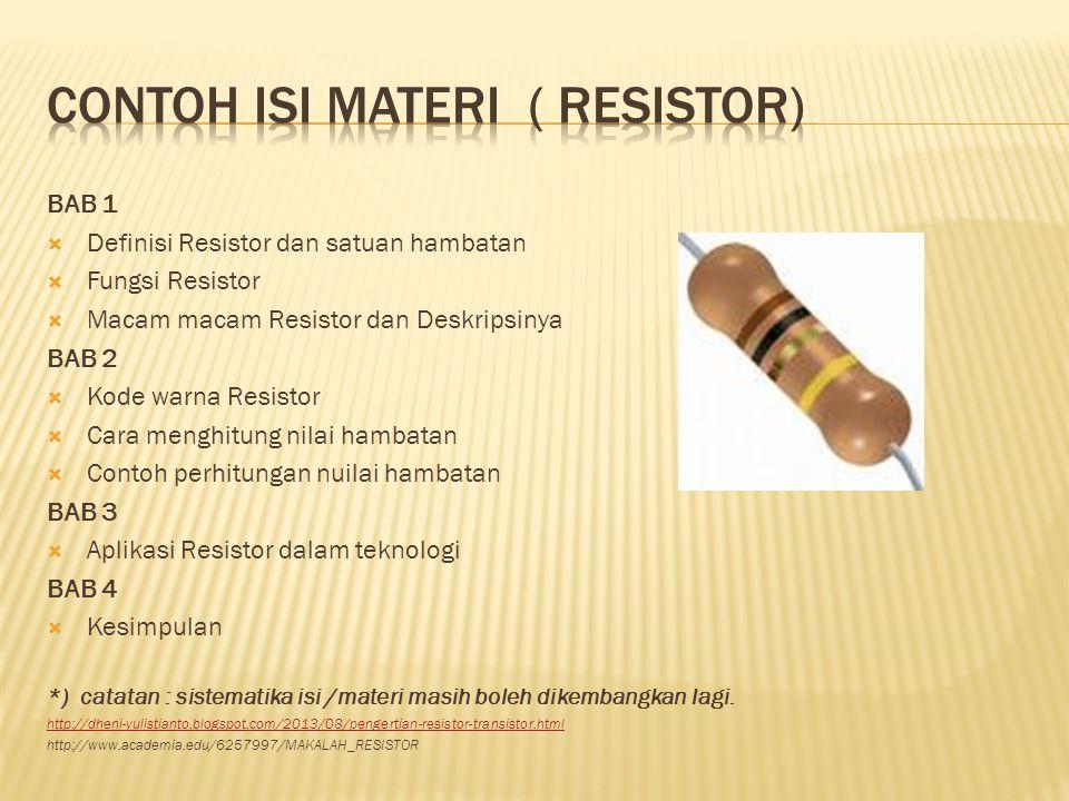 Contoh isi materi ( resistor)