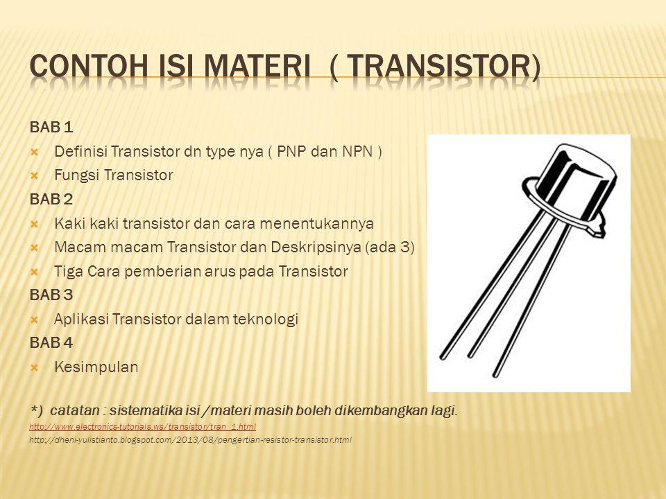 Contoh isi materi ( TRANsistor)