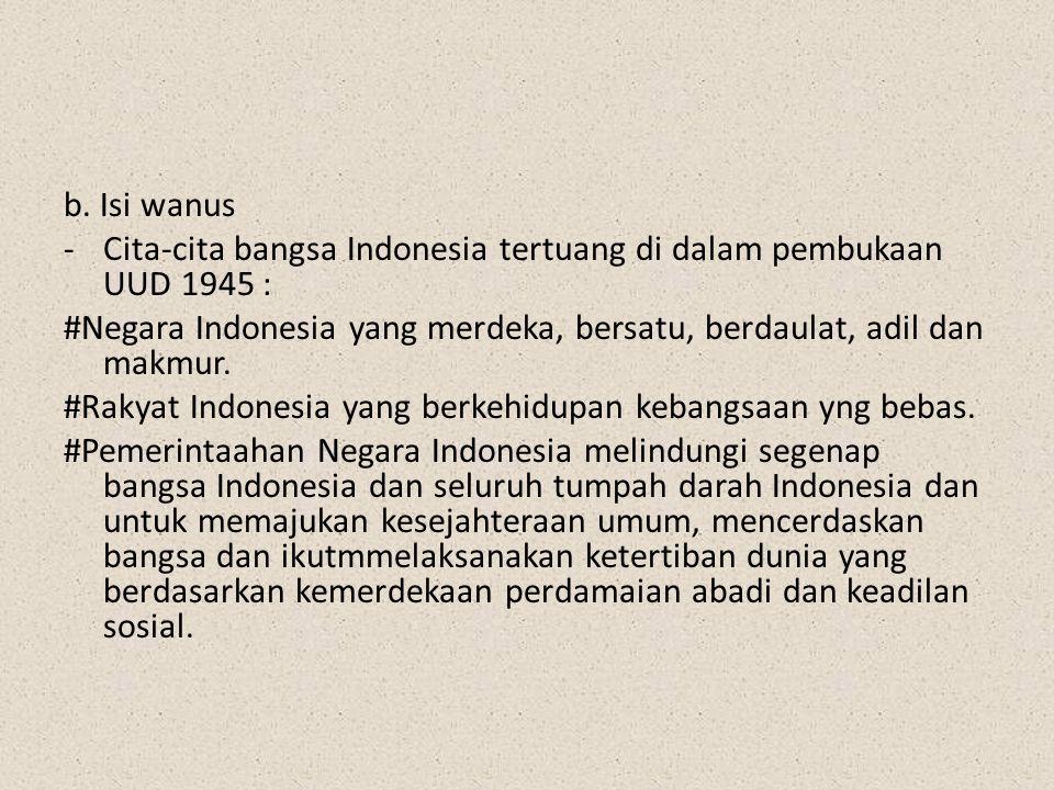 b. Isi wanus Cita-cita bangsa Indonesia tertuang di dalam pembukaan UUD 1945 : #Negara Indonesia yang merdeka, bersatu, berdaulat, adil dan makmur.