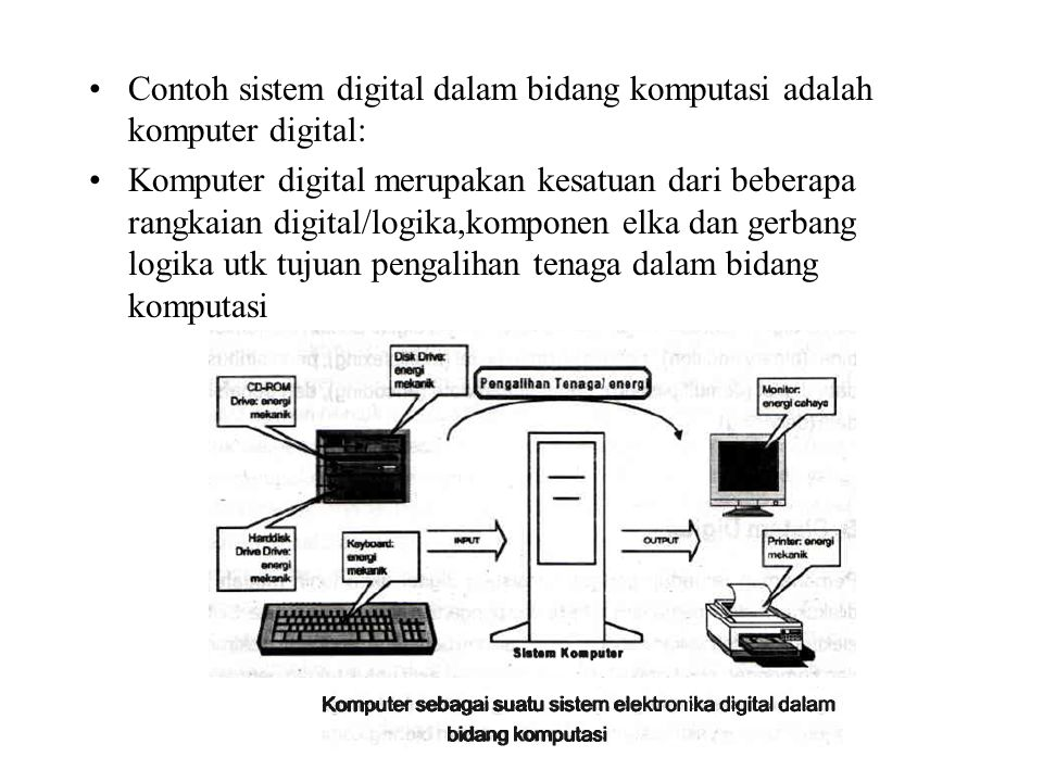Contoh sistem digital dalam bidang komputasi adalah komputer digital: