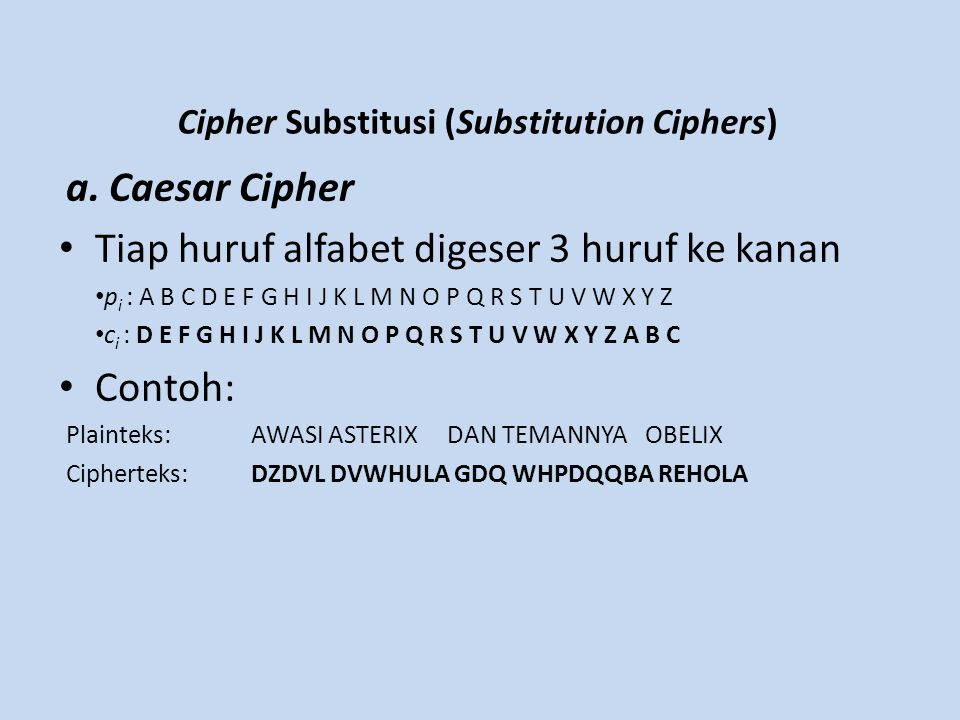 Cipher Substitusi (Substitution Ciphers)