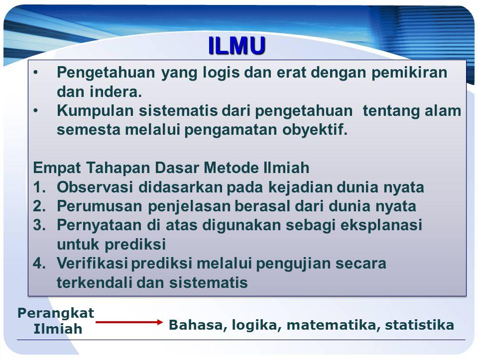ILMU Pengetahuan yang logis dan erat dengan pemikiran dan indera.